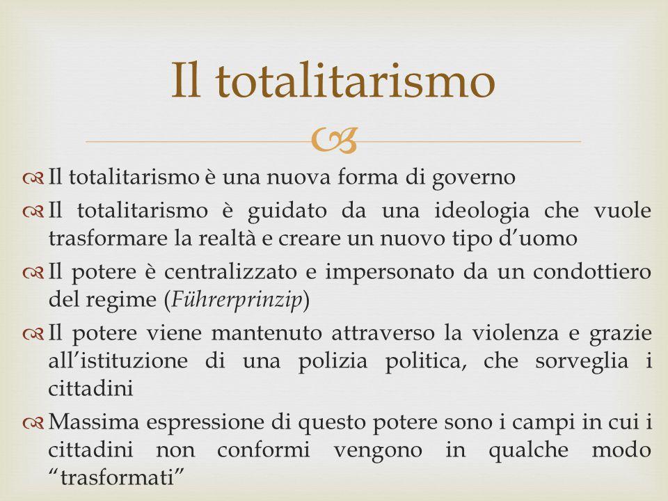 Il totalitarismo Il totalitarismo è una nuova forma di governo