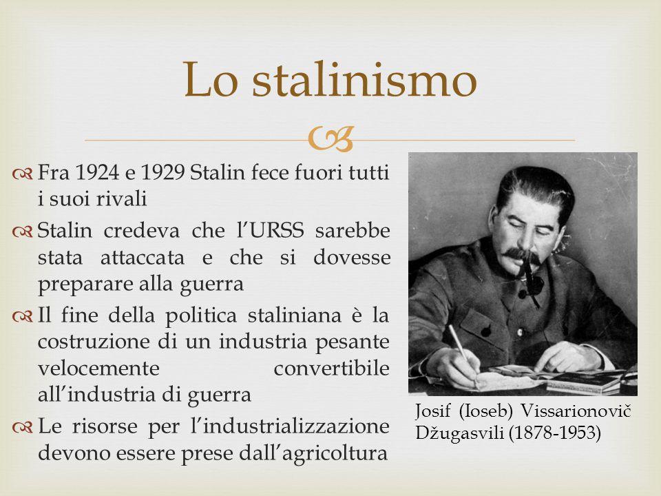 Lo stalinismo Fra 1924 e 1929 Stalin fece fuori tutti i suoi rivali