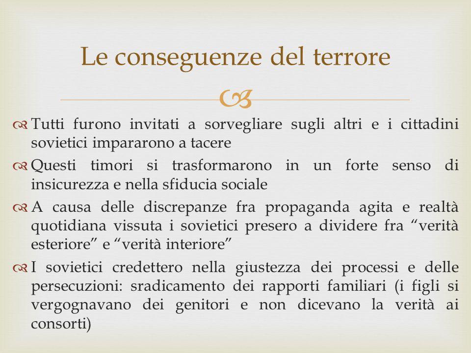 Le conseguenze del terrore