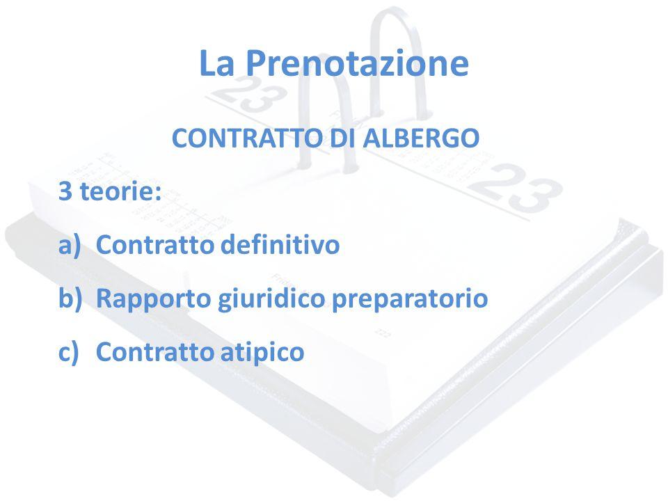 La Prenotazione CONTRATTO DI ALBERGO 3 teorie: Contratto definitivo