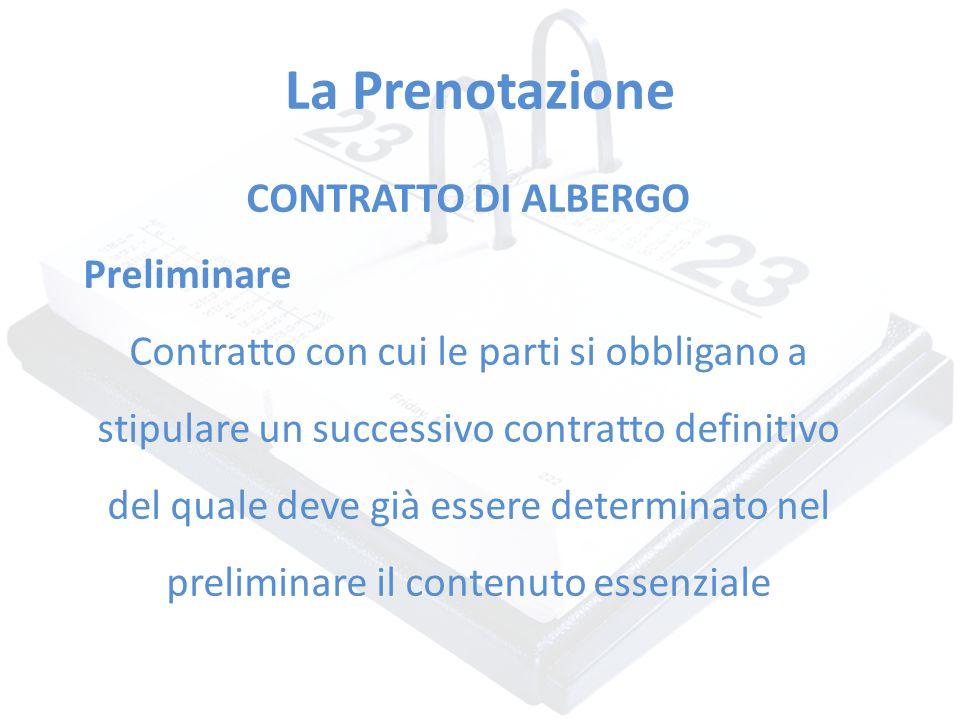 La Prenotazione CONTRATTO DI ALBERGO Preliminare