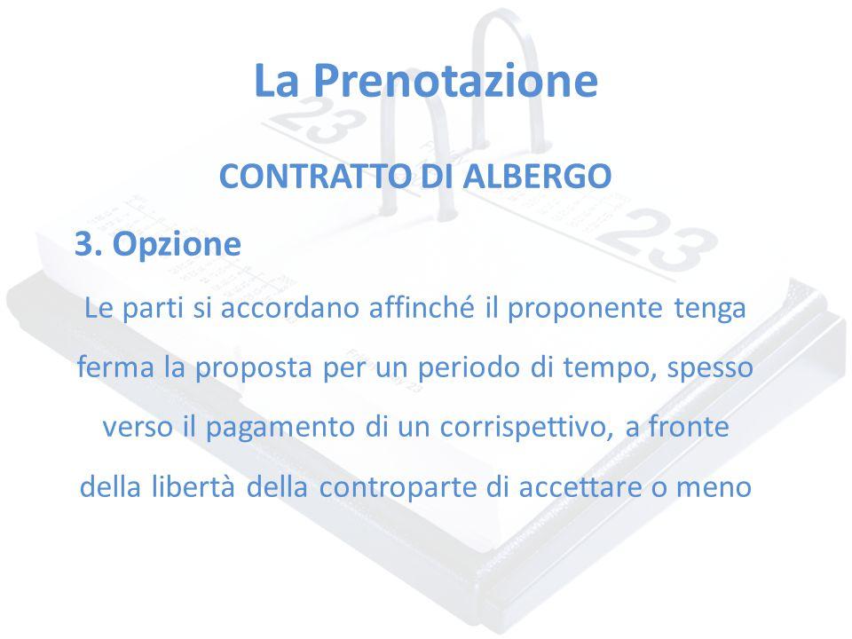 La Prenotazione CONTRATTO DI ALBERGO 3. Opzione