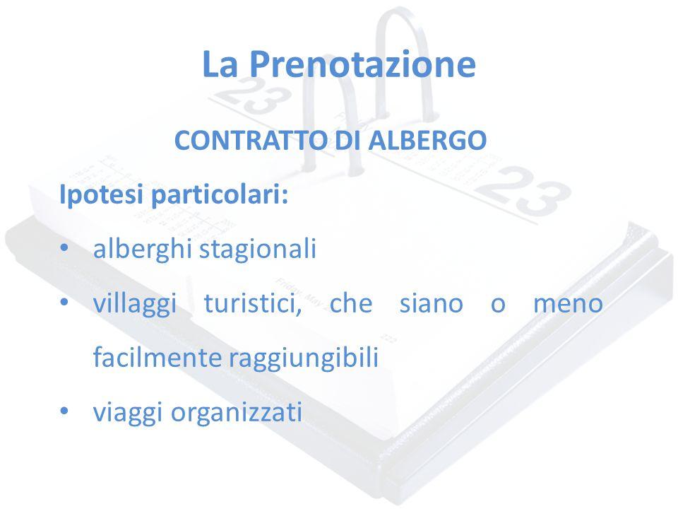 La Prenotazione CONTRATTO DI ALBERGO Ipotesi particolari: