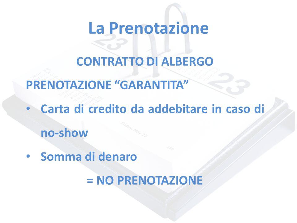 La Prenotazione CONTRATTO DI ALBERGO PRENOTAZIONE GARANTITA