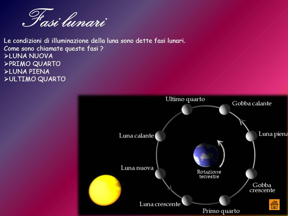 Fasi lunari Le condizioni di illuminazione della luna sono dette fasi lunari. Come sono chiamate queste fasi