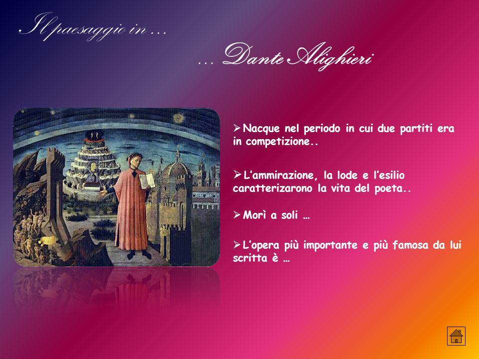 Il paesaggio in … …Dante Alighieri