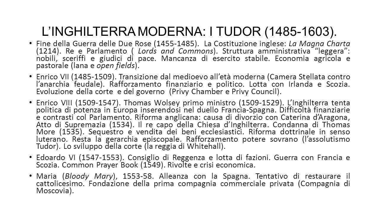 L'INGHILTERRA MODERNA: I TUDOR (1485-1603).