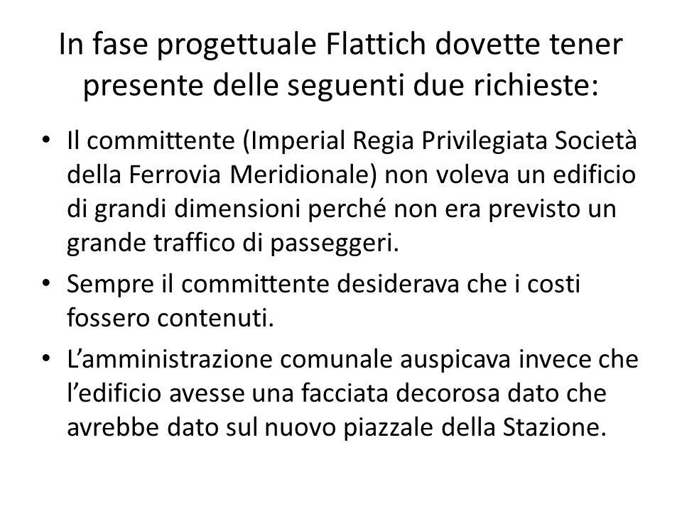 In fase progettuale Flattich dovette tener presente delle seguenti due richieste: