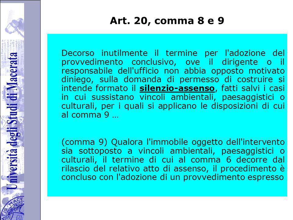 Art. 20, comma 8 e 9