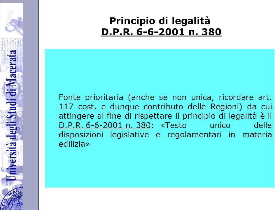 Principio di legalità D.P.R. 6-6-2001 n. 380