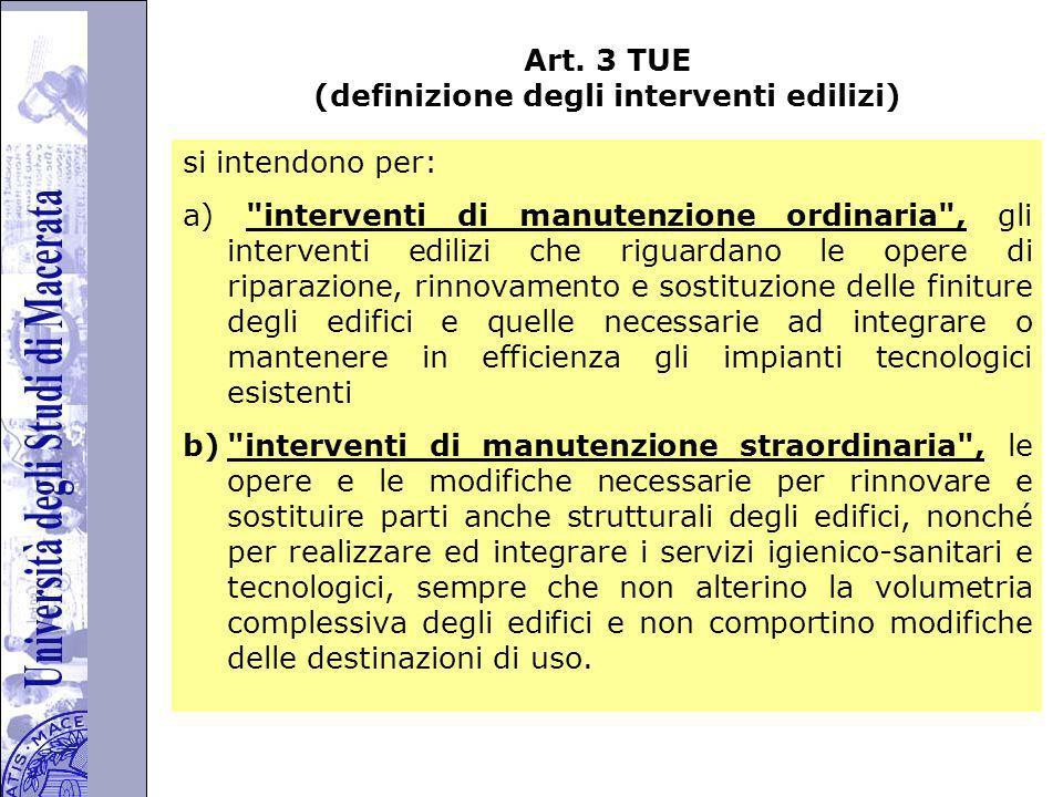 Art. 3 TUE (definizione degli interventi edilizi)