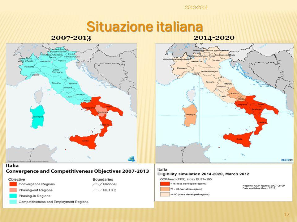 Situazione italiana 2013-2014 2007-2013 2014-2020