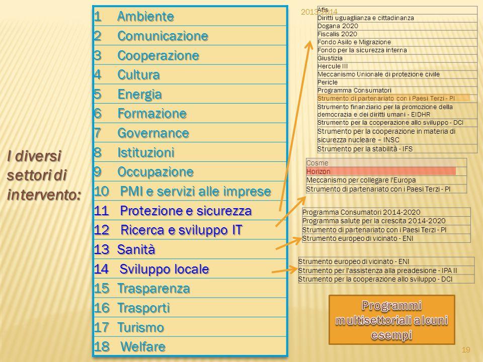Programmi multisettoriali alcuni esempi