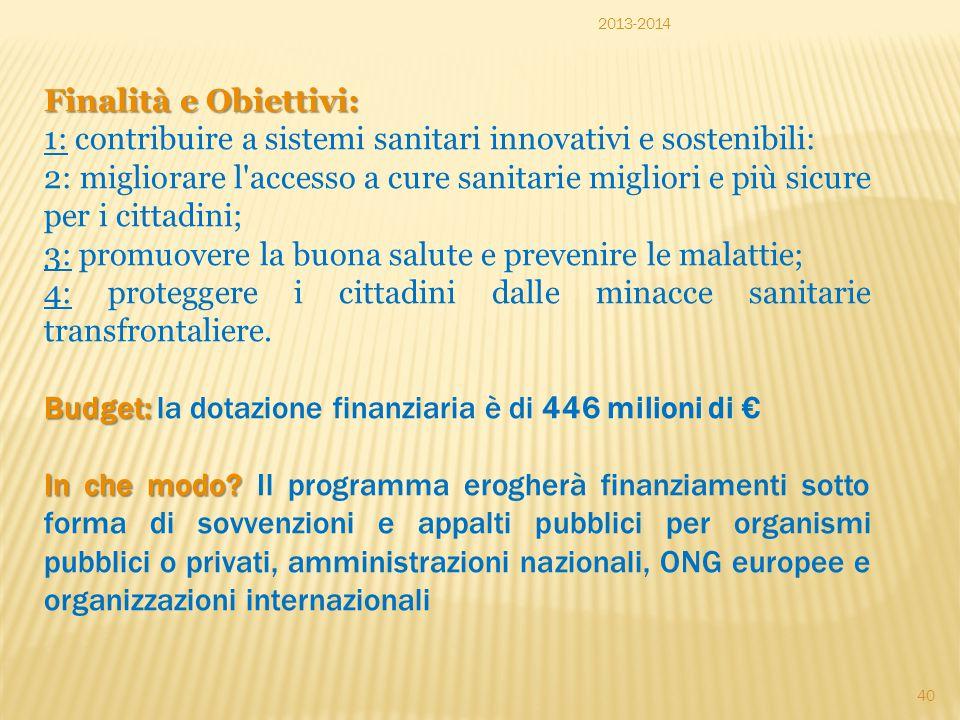 1: contribuire a sistemi sanitari innovativi e sostenibili: