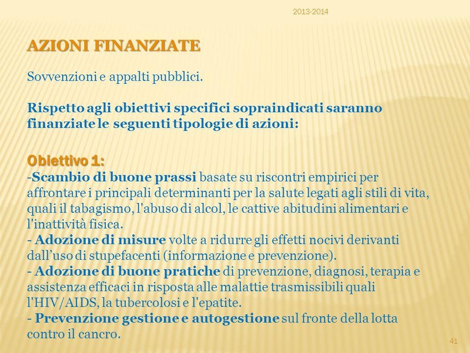 AZIONI FINANZIATE Obiettivo 1: Sovvenzioni e appalti pubblici.