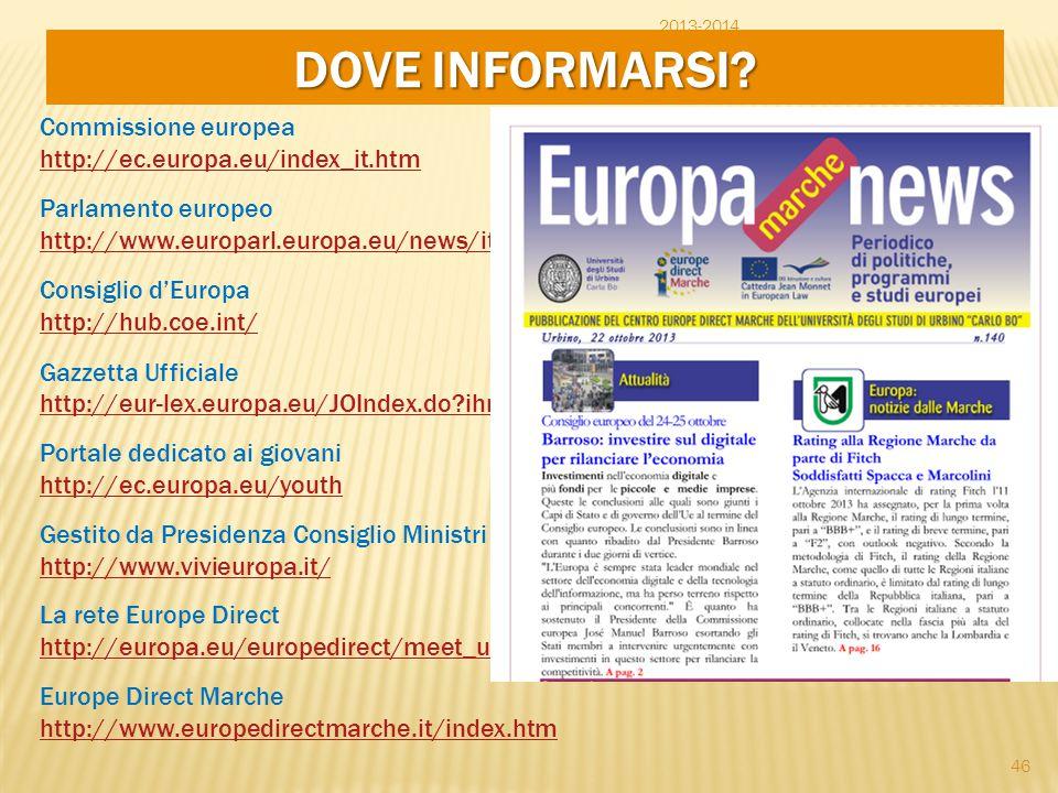 DOVE INFORMARSI Commissione europea http://ec.europa.eu/index_it.htm