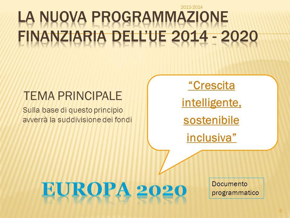 La Nuova Programmazione finanziaria dell'UE 2014 - 2020