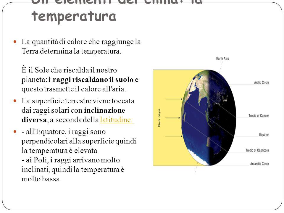 Gli elementi del clima: la temperatura Numero pagina: Messaggio: La quantità di calore che raggiunge la Terra determina la temperatura. È il Sole che riscalda il nostro pianeta: i raggi riscaldano il suolo e questo trasmette il calore all aria. Gli elementi del clima: la temperatura