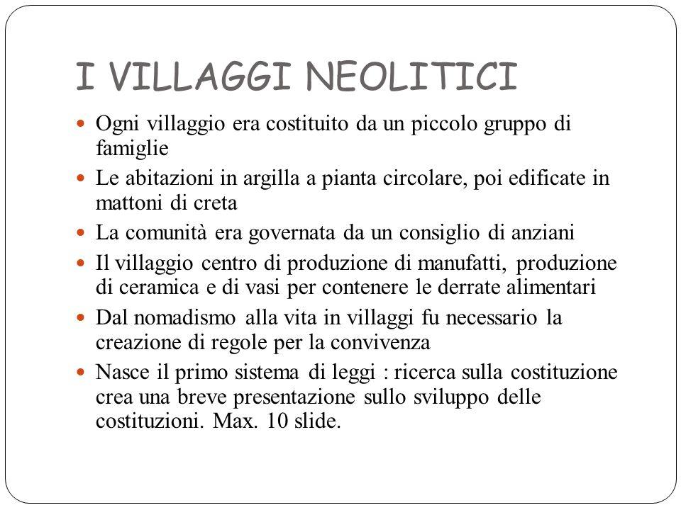 I VILLAGGI NEOLITICI Ogni villaggio era costituito da un piccolo gruppo di famiglie.
