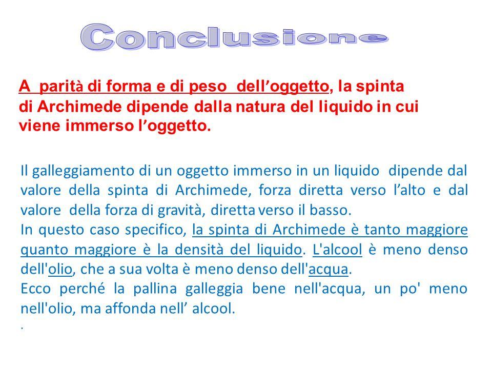 Conclusione A parità di forma e di peso dell'oggetto, la spinta di Archimede dipende dalla natura del liquido in cui viene immerso l'oggetto.