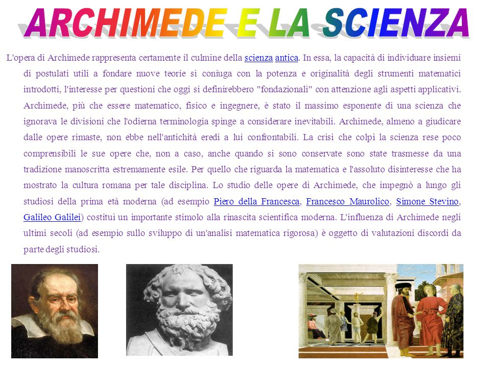 ARCHIMEDE E LA SCIENZA