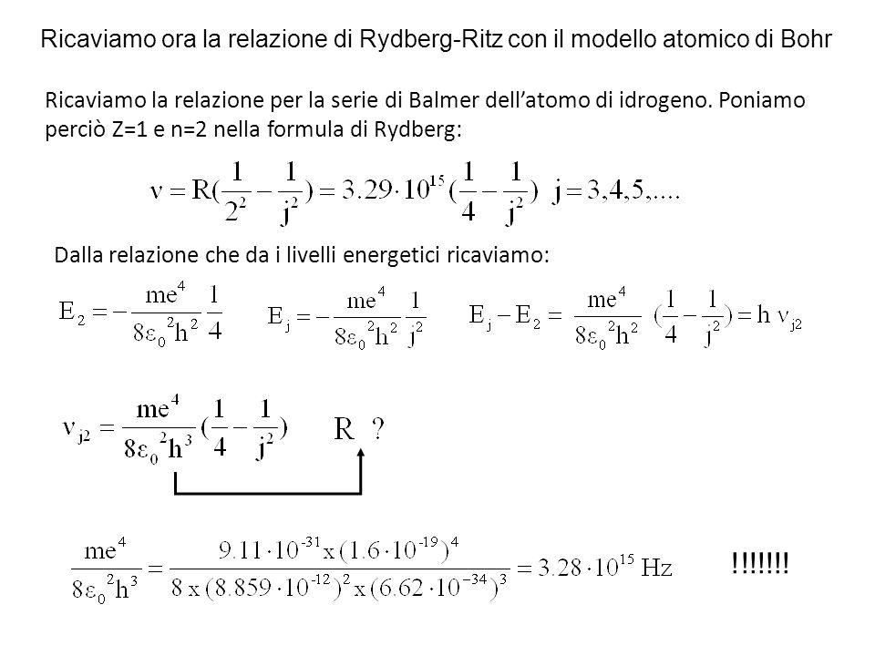 Ricaviamo ora la relazione di Rydberg-Ritz con il modello atomico di Bohr