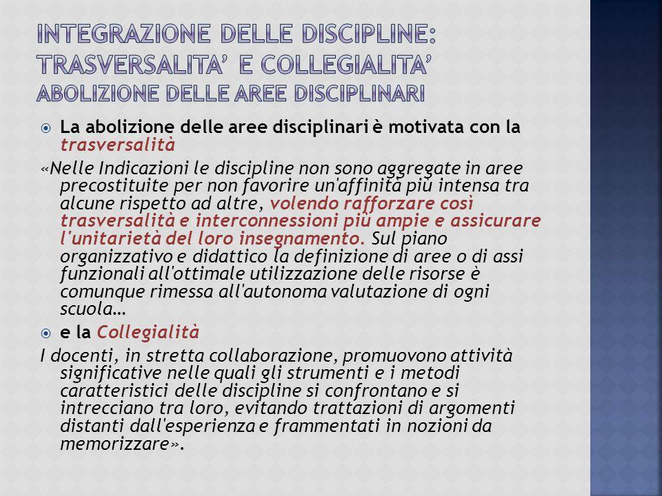 INTEGRAZIONE DELLE DISCIPLINE: TRASVERSALITA' e COLLEGIALITA' ABOLIZIONE DELLE AREE DISCIPLINARI