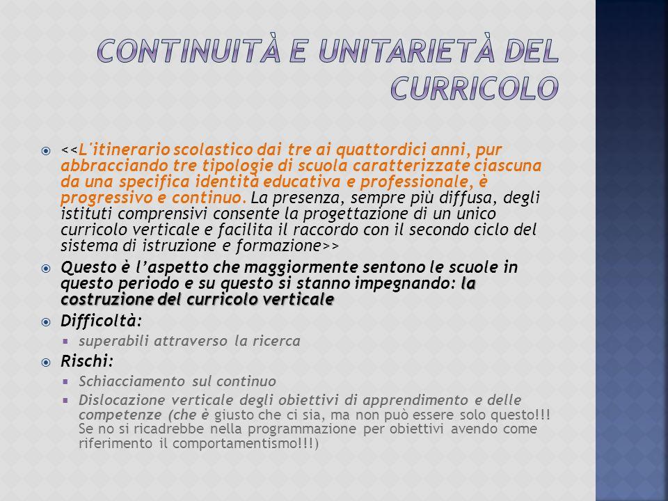 Continuità e unitarietà del curricolo
