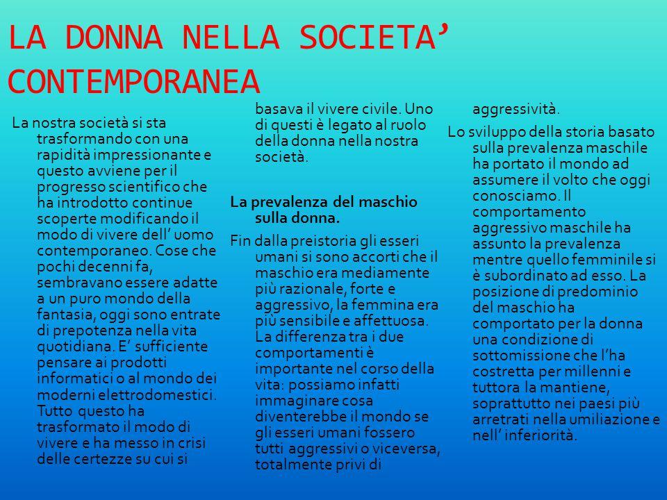 LA DONNA NELLA SOCIETA' CONTEMPORANEA