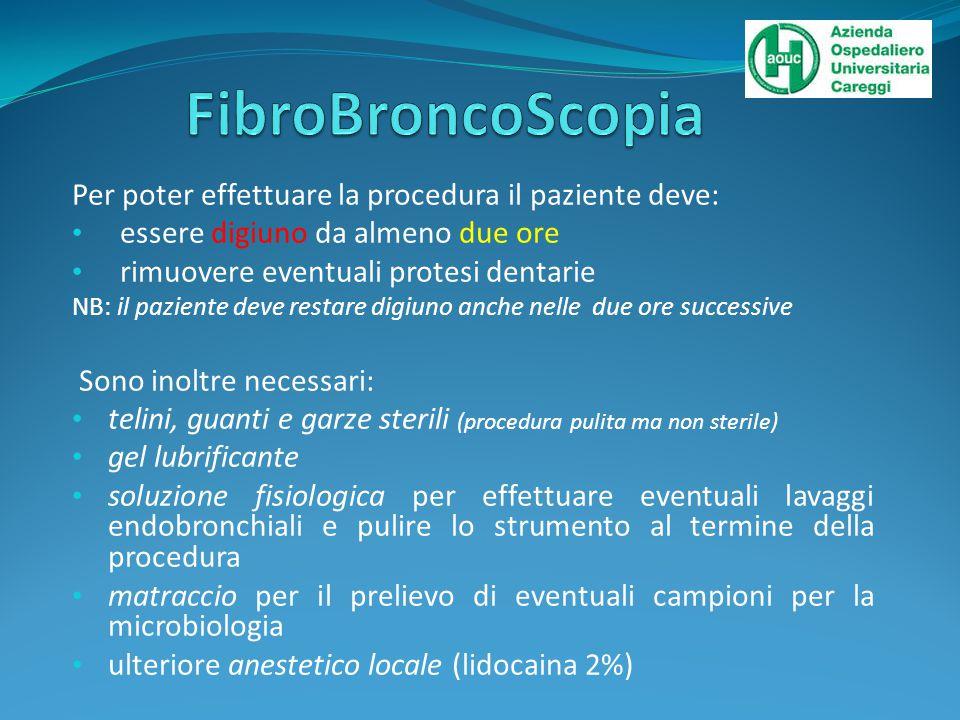 FibroBroncoScopia Per poter effettuare la procedura il paziente deve: