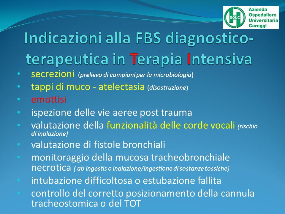 Indicazioni alla FBS diagnostico-terapeutica in Terapia Intensiva