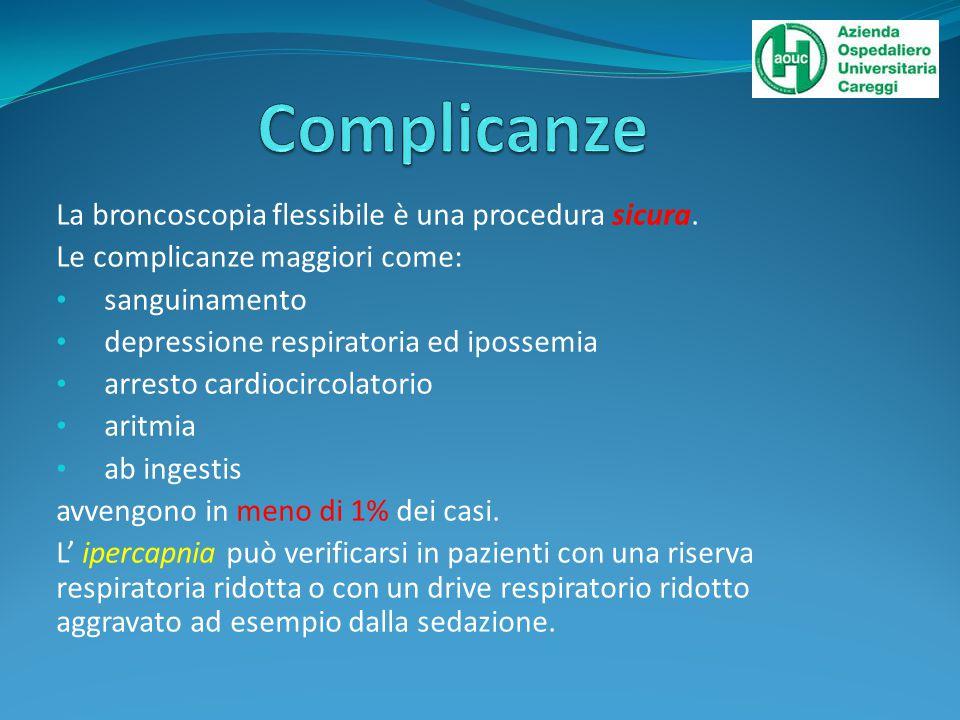 Complicanze La broncoscopia flessibile è una procedura sicura.