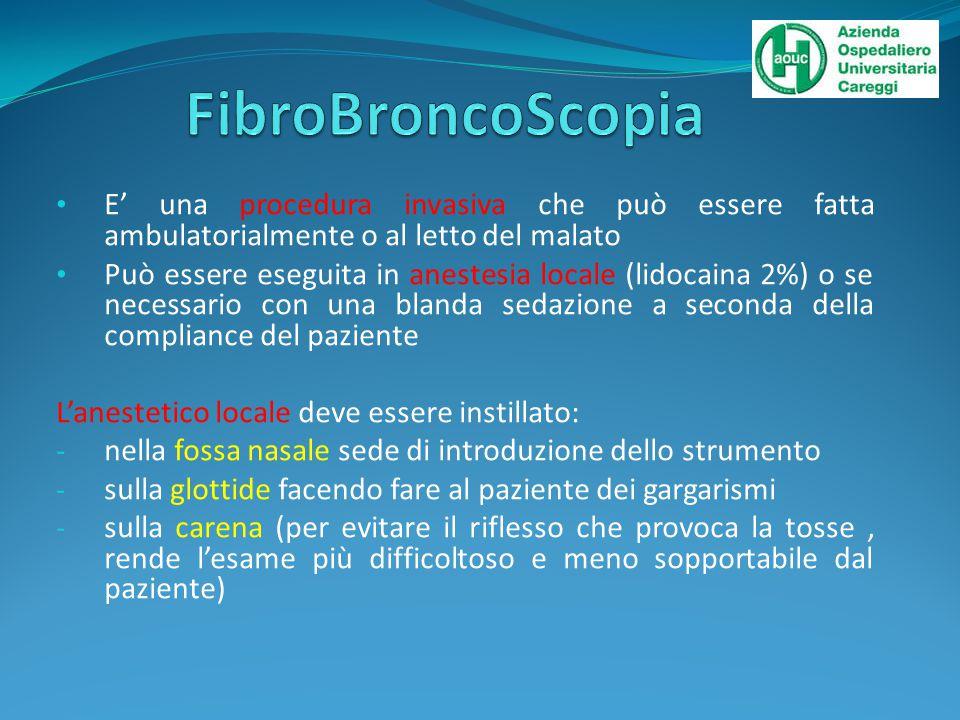 FibroBroncoScopia E' una procedura invasiva che può essere fatta ambulatorialmente o al letto del malato.