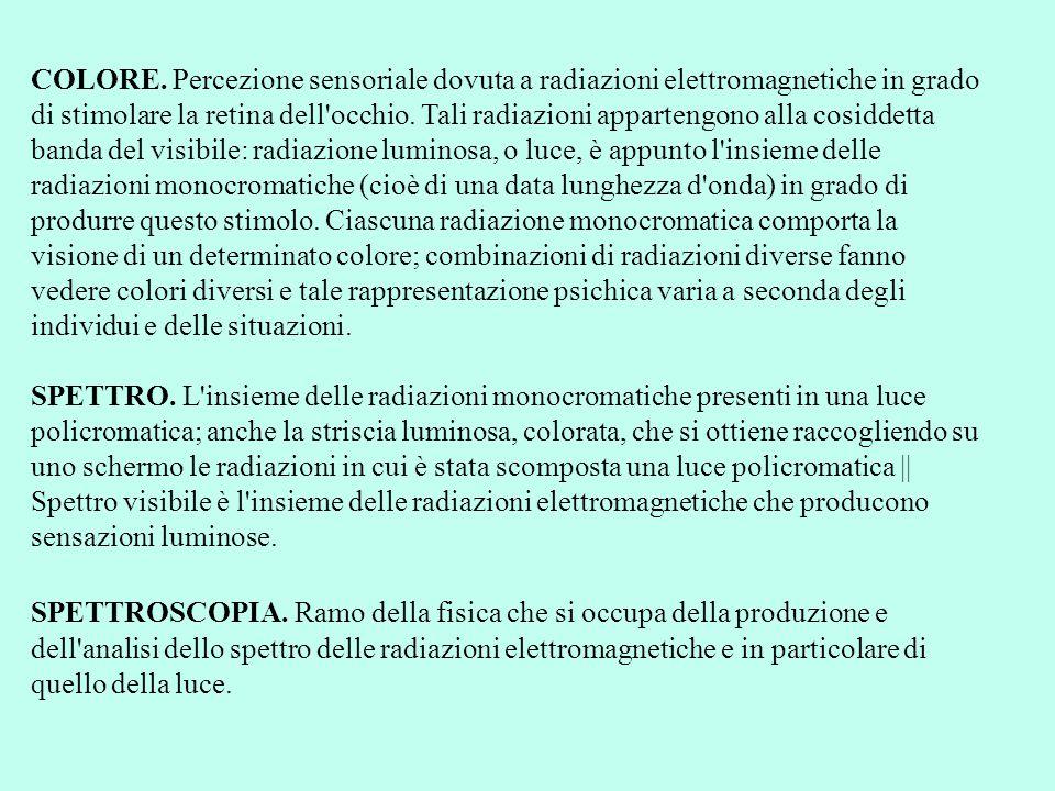 COLORE. Percezione sensoriale dovuta a radiazioni elettromagnetiche in grado di stimolare la retina dell occhio. Tali radiazioni appartengono alla cosiddetta banda del visibile: radiazione luminosa, o luce, è appunto l insieme delle radiazioni monocromatiche (cioè di una data lunghezza d onda) in grado di produrre questo stimolo. Ciascuna radiazione monocromatica comporta la visione di un determinato colore; combinazioni di radiazioni diverse fanno vedere colori diversi e tale rappresentazione psichica varia a seconda degli individui e delle situazioni.