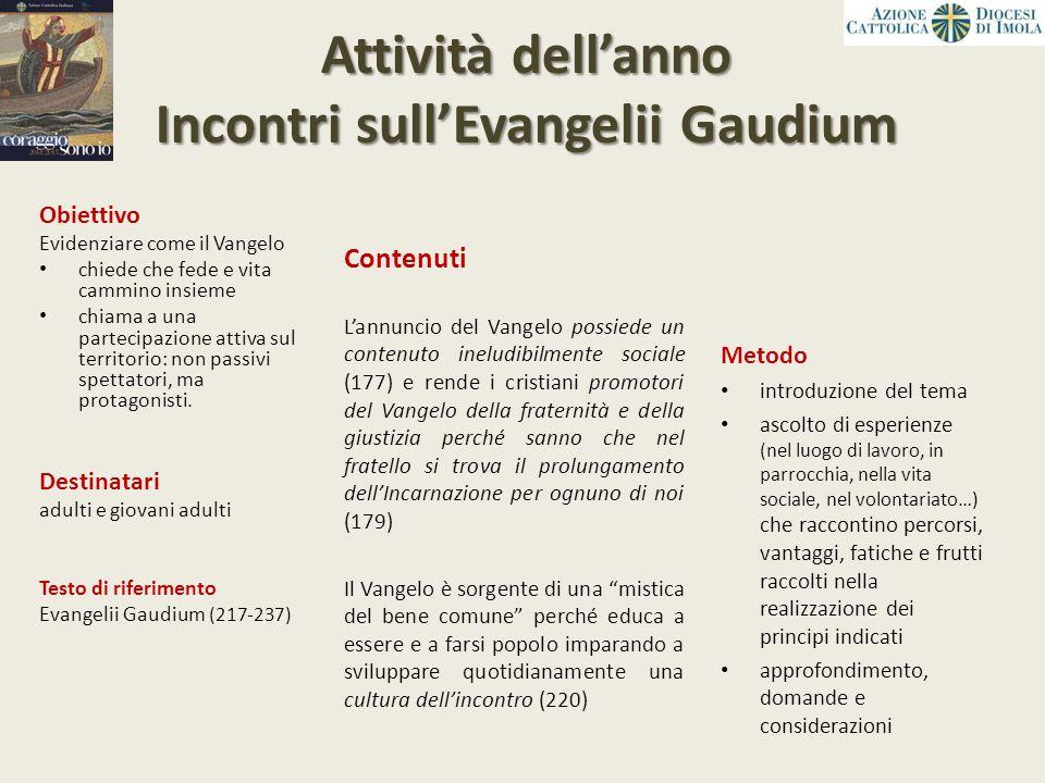 Attività dell'anno Incontri sull'Evangelii Gaudium