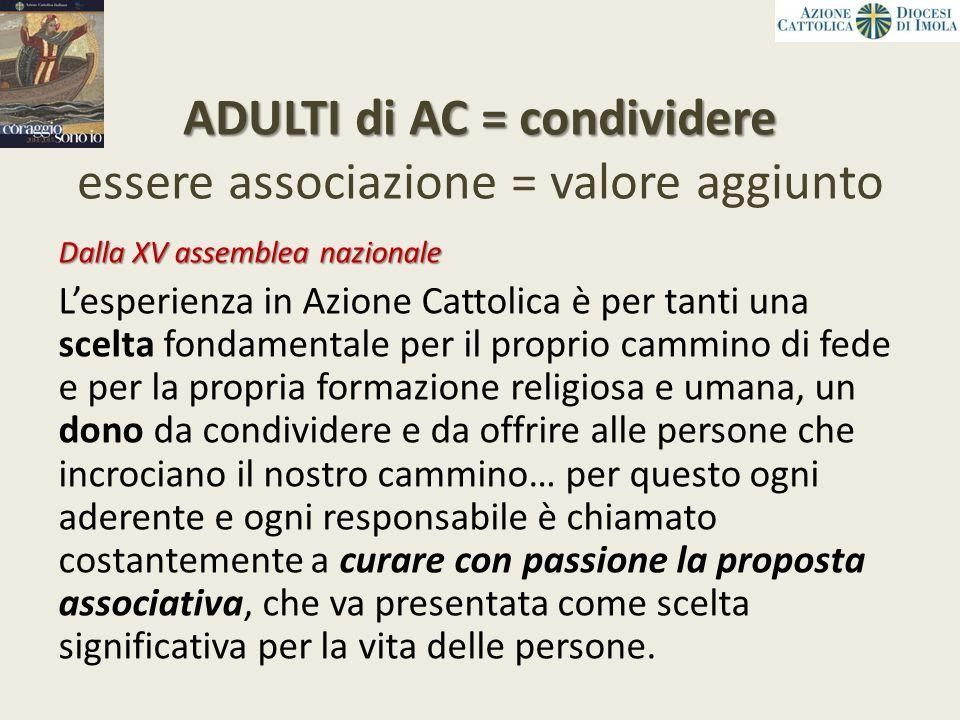 ADULTI di AC = condividere essere associazione = valore aggiunto
