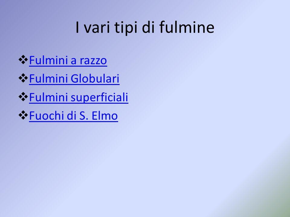 I vari tipi di fulmine Fulmini a razzo Fulmini Globulari