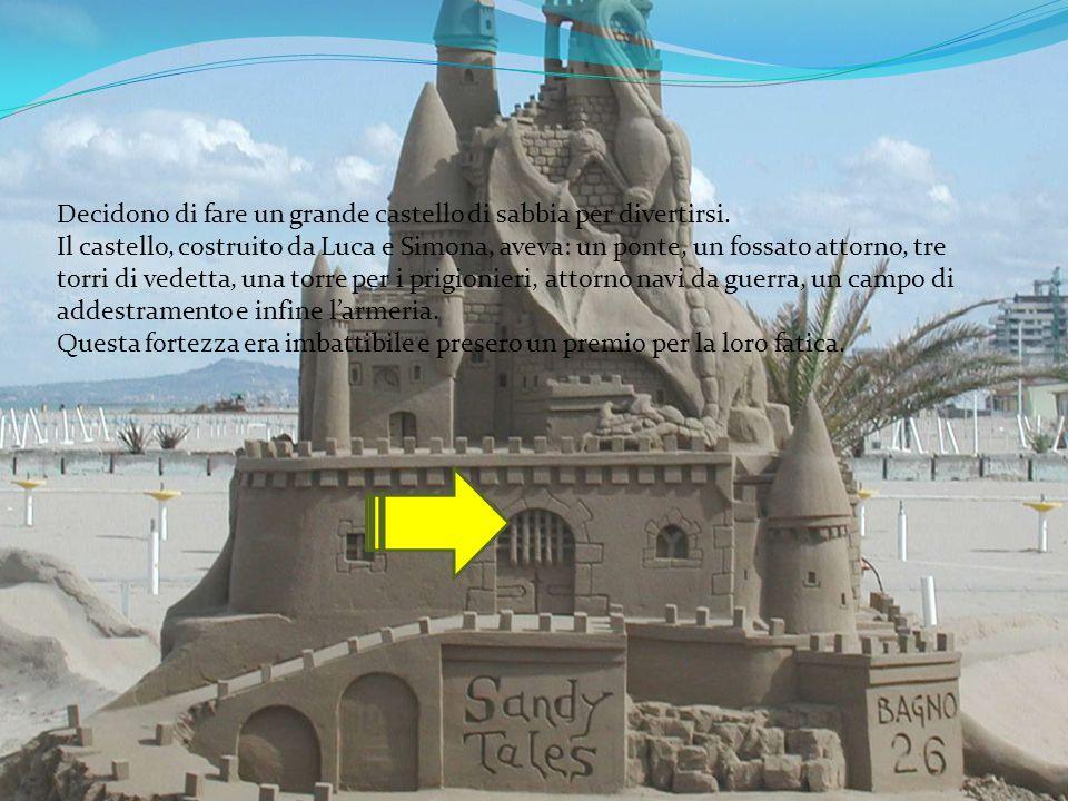Decidono di fare un grande castello di sabbia per divertirsi.