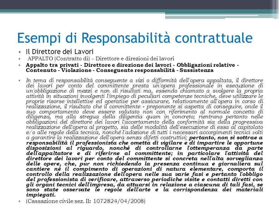 Esempi di Responsabilità contrattuale