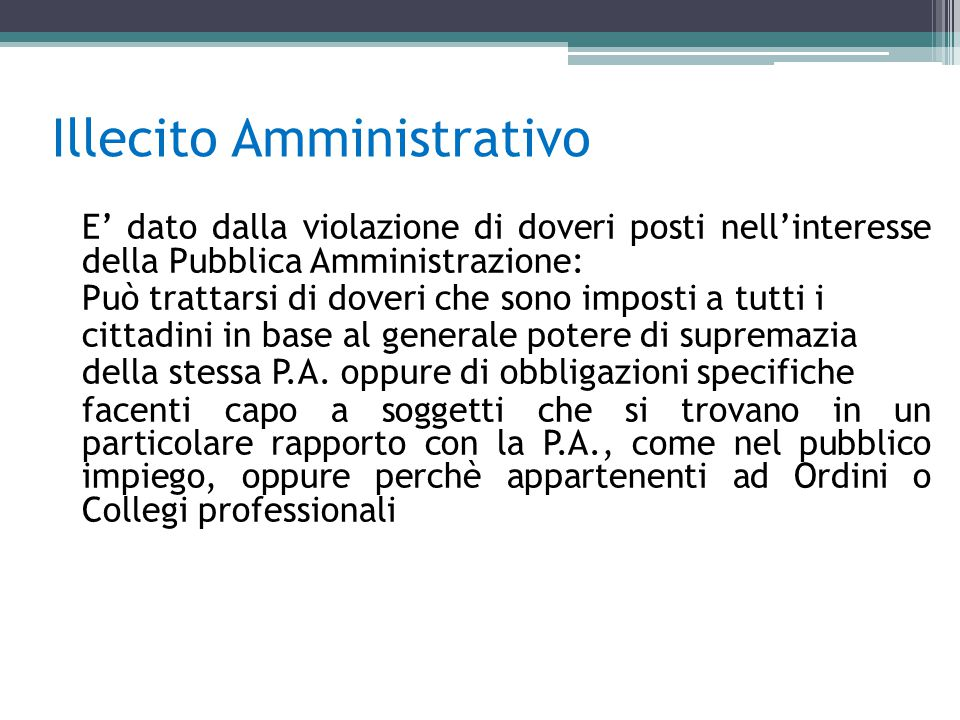Illecito Amministrativo