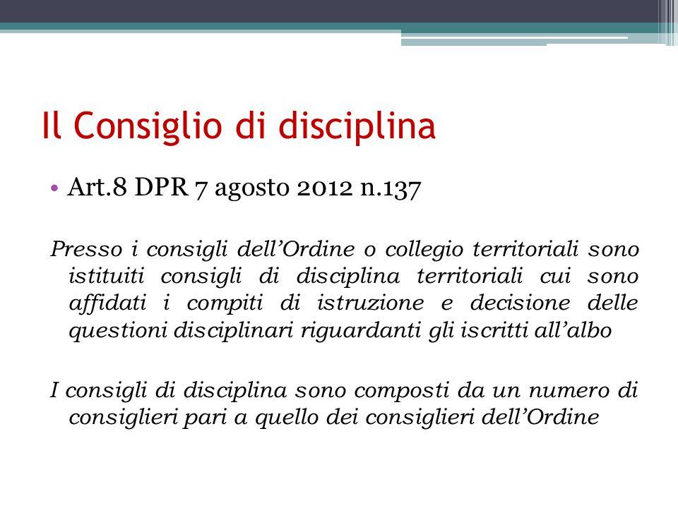 Il Consiglio di disciplina