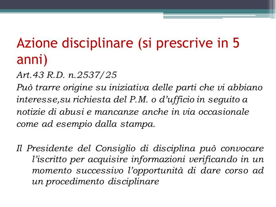 Azione disciplinare (si prescrive in 5 anni)