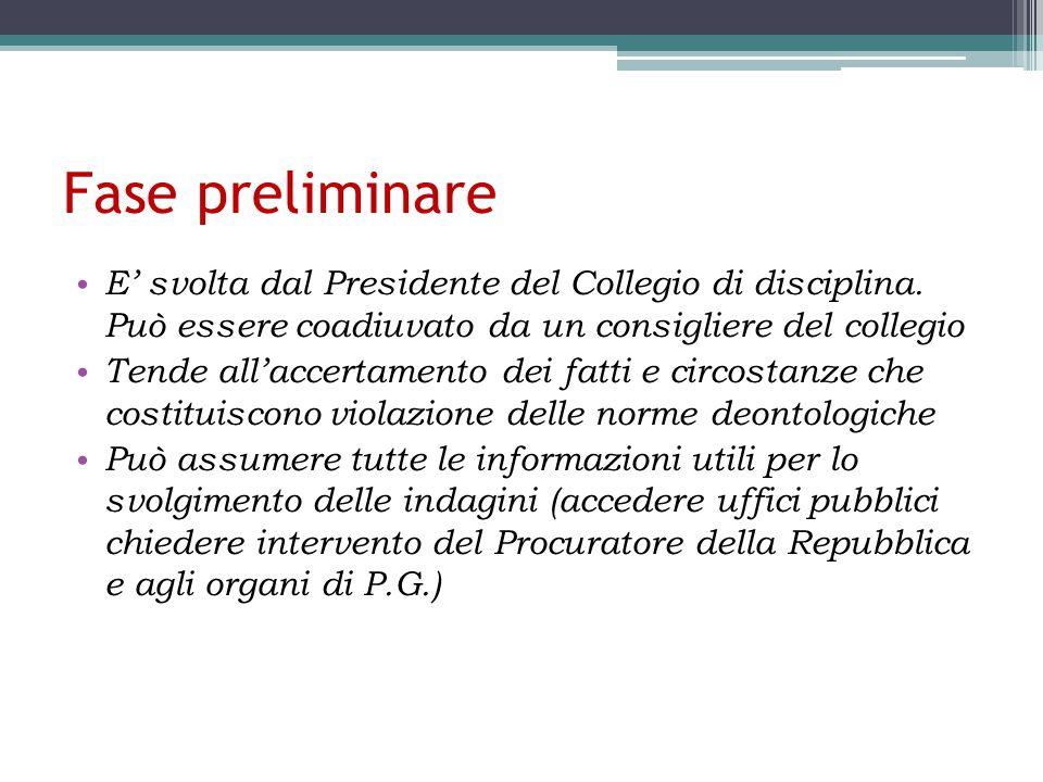 Fase preliminare E' svolta dal Presidente del Collegio di disciplina. Può essere coadiuvato da un consigliere del collegio.