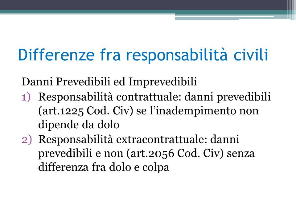 Differenze fra responsabilità civili