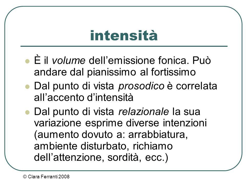 intensità È il volume dell'emissione fonica. Può andare dal pianissimo al fortissimo.