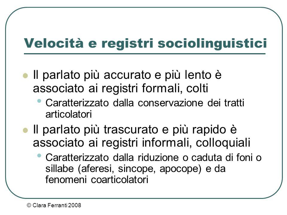 Velocità e registri sociolinguistici