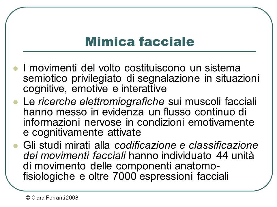 Mimica facciale I movimenti del volto costituiscono un sistema semiotico privilegiato di segnalazione in situazioni cognitive, emotive e interattive.