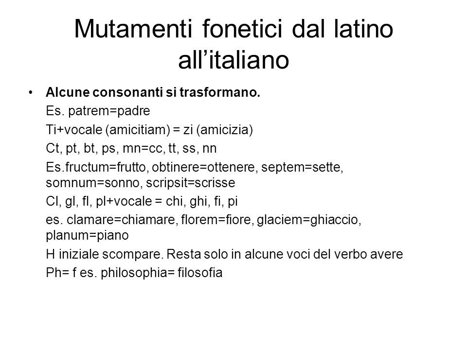 Mutamenti fonetici dal latino all'italiano