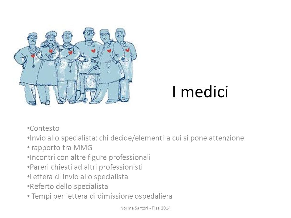 I medici Contesto. Invio allo specialista: chi decide/elementi a cui si pone attenzione. rapporto tra MMG.