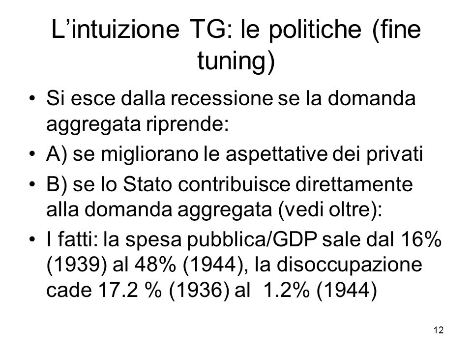 L'intuizione TG: le politiche (fine tuning)